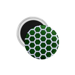 Hexagon2 White Marble & Green Leather 1 75  Magnets