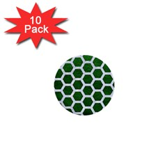 Hexagon2 White Marble & Green Leather 1  Mini Buttons (10 Pack)