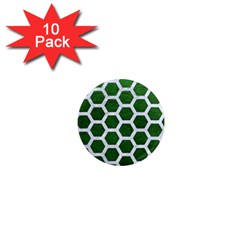 Hexagon2 White Marble & Green Leather 1  Mini Magnet (10 Pack)  by trendistuff