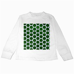 Hexagon2 White Marble & Green Leather Kids Long Sleeve T Shirts