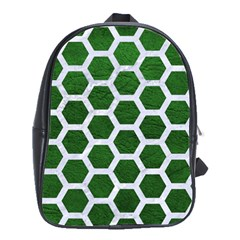 Hexagon2 White Marble & Green Leather School Bag (large)
