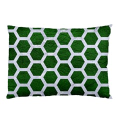 Hexagon2 White Marble & Green Leather Pillow Case (two Sides)