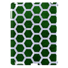 Hexagon2 White Marble & Green Leather Apple Ipad 3/4 Hardshell Case (compatible With Smart Cover)