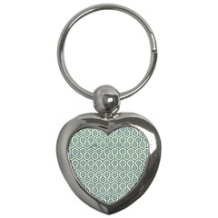 Hexagon1 White Marble & Green Leather (r) Key Chains (heart)