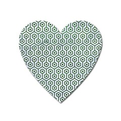 Hexagon1 White Marble & Green Leather (r) Heart Magnet