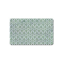 Hexagon1 White Marble & Green Leather (r) Magnet (name Card)