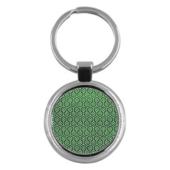 Hexagon1 White Marble & Green Leather Key Chains (round)  by trendistuff