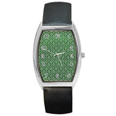 Hexagon1 White Marble & Green Leather Barrel Style Metal Watch