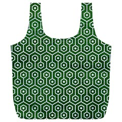 Hexagon1 White Marble & Green Leather Full Print Recycle Bags (l)