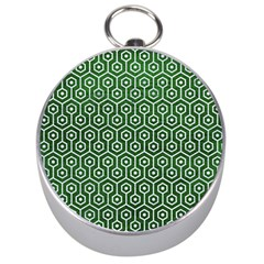 Hexagon1 White Marble & Green Leather Silver Compasses
