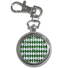 Diamond1 White Marble & Green Leather Key Chain Watches