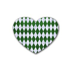 Diamond1 White Marble & Green Leather Rubber Coaster (heart)
