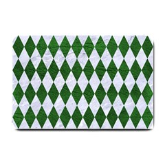Diamond1 White Marble & Green Leather Small Doormat