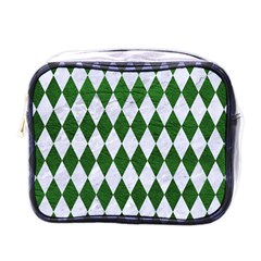 Diamond1 White Marble & Green Leather Mini Toiletries Bags