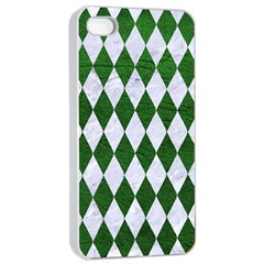 Diamond1 White Marble & Green Leather Apple Iphone 4/4s Seamless Case (white)