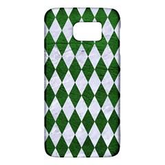 Diamond1 White Marble & Green Leather Samsung Galaxy S6 Hardshell Case