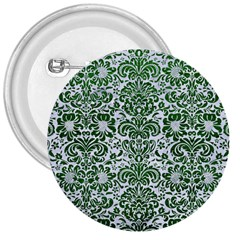 Damask2 White Marble & Green Leather (r) 3  Buttons