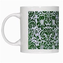 Damask2 White Marble & Green Leather (r) White Mugs