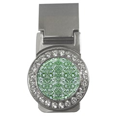 Damask2 White Marble & Green Leather (r) Money Clips (cz)