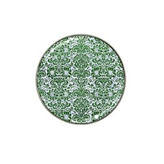 Damask2 White Marble & Green Leather (r) Hat Clip Ball Marker (4 Pack)
