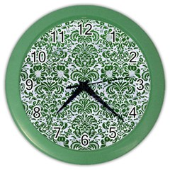 Damask2 White Marble & Green Leather (r) Color Wall Clock