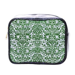 Damask2 White Marble & Green Leather (r) Mini Toiletries Bags