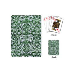 Damask2 White Marble & Green Leather (r) Playing Cards (mini)