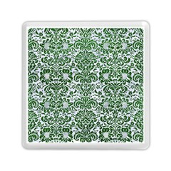 Damask2 White Marble & Green Leather (r) Memory Card Reader (square)
