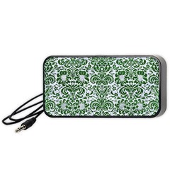 Damask2 White Marble & Green Leather (r) Portable Speaker