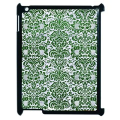 Damask2 White Marble & Green Leather (r) Apple Ipad 2 Case (black) by trendistuff