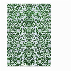 Damask2 White Marble & Green Leather (r) Large Garden Flag (two Sides)