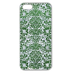 Damask2 White Marble & Green Leather (r) Apple Seamless Iphone 5 Case (clear)