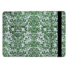 Damask2 White Marble & Green Leather (r) Samsung Galaxy Tab Pro 12 2  Flip Case