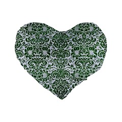 Damask2 White Marble & Green Leather (r) Standard 16  Premium Flano Heart Shape Cushions