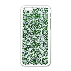 Damask2 White Marble & Green Leather (r) Apple Iphone 6/6s White Enamel Case