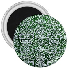 Damask2 White Marble & Green Leather 3  Magnets