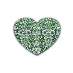 Damask2 White Marble & Green Leather Heart Coaster (4 Pack)