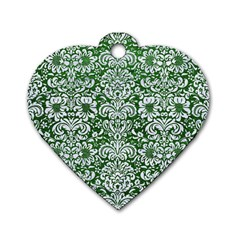 Damask2 White Marble & Green Leather Dog Tag Heart (two Sides)
