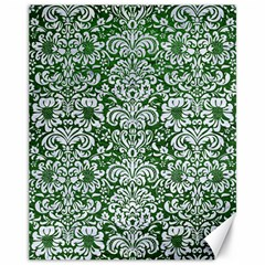 Damask2 White Marble & Green Leather Canvas 11  X 14
