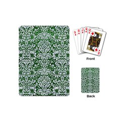 Damask2 White Marble & Green Leather Playing Cards (mini)
