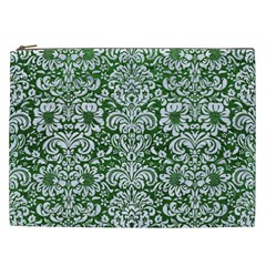 Damask2 White Marble & Green Leather Cosmetic Bag (xxl)