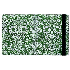 Damask2 White Marble & Green Leather Apple Ipad 2 Flip Case by trendistuff