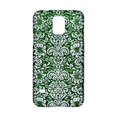Damask2 White Marble & Green Leather Samsung Galaxy S5 Hardshell Case