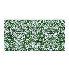 Damask2 White Marble & Green Leather Satin Wrap
