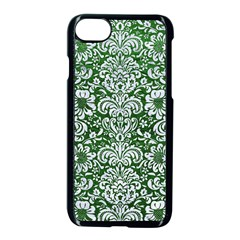 Damask2 White Marble & Green Leather Apple Iphone 7 Seamless Case (black)