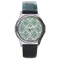 Damask1 White Marble & Green Leather (r) Round Metal Watch