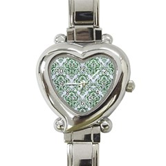 Damask1 White Marble & Green Leather (r) Heart Italian Charm Watch