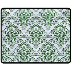 Damask1 White Marble & Green Leather (r) Fleece Blanket (medium)