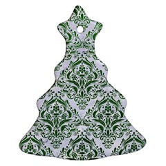 Damask1 White Marble & Green Leather (r) Ornament (christmas Tree)  by trendistuff