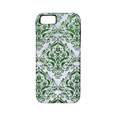 Damask1 White Marble & Green Leather (r) Apple Iphone 5 Classic Hardshell Case (pc+silicone)